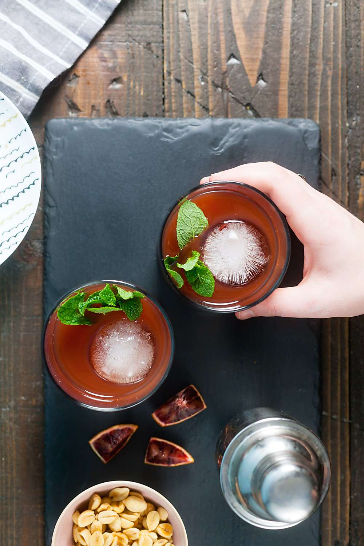 Blood Orange, Tea, & Whiskey Cocktail