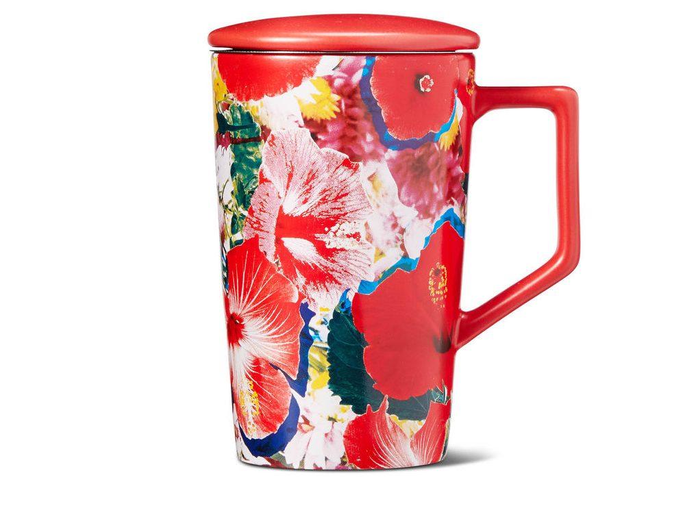 Teavana Red Floral Infuser Mug